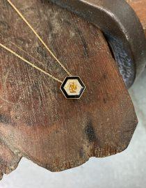 Hexagon And Diamond Necklace