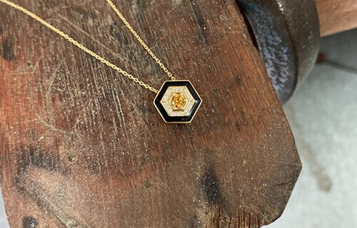 Hexagon And Diamond Necklace