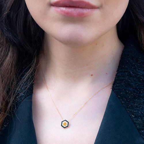 Diamond And Hexagon Necklace
