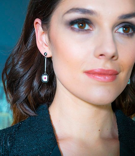 Ruby And Diamond Art Deco Drop Earrings