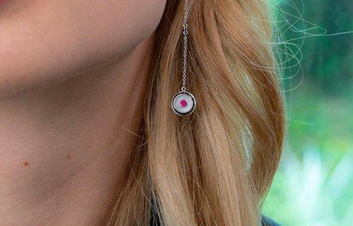 Moonstone And Ruby Drop Earrings
