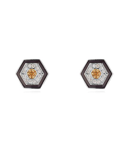 Hexagon Earrings Diamond Yellow Sapphire