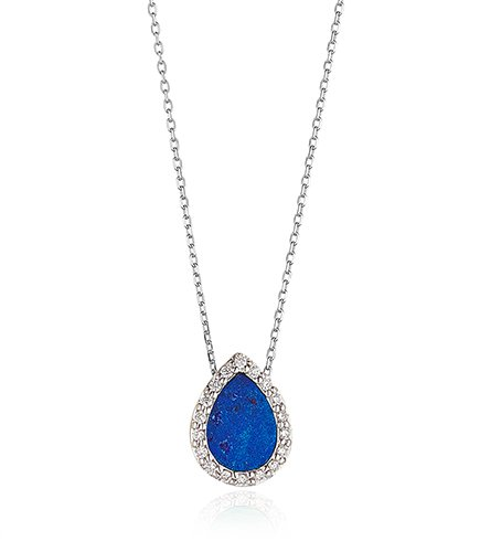Lapis Necklace Pear Shape With Diamond