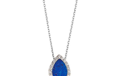 Lapis Necklace Pear Shape With Diamond