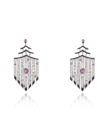 Cherry Blossom Earrings In 18ct White Gold, Diamonds, Pink Sapphires And Black Enamel