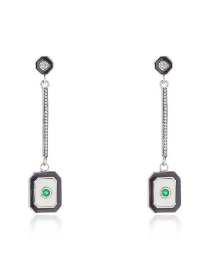 Emerald Drop Earrings With Diamonds