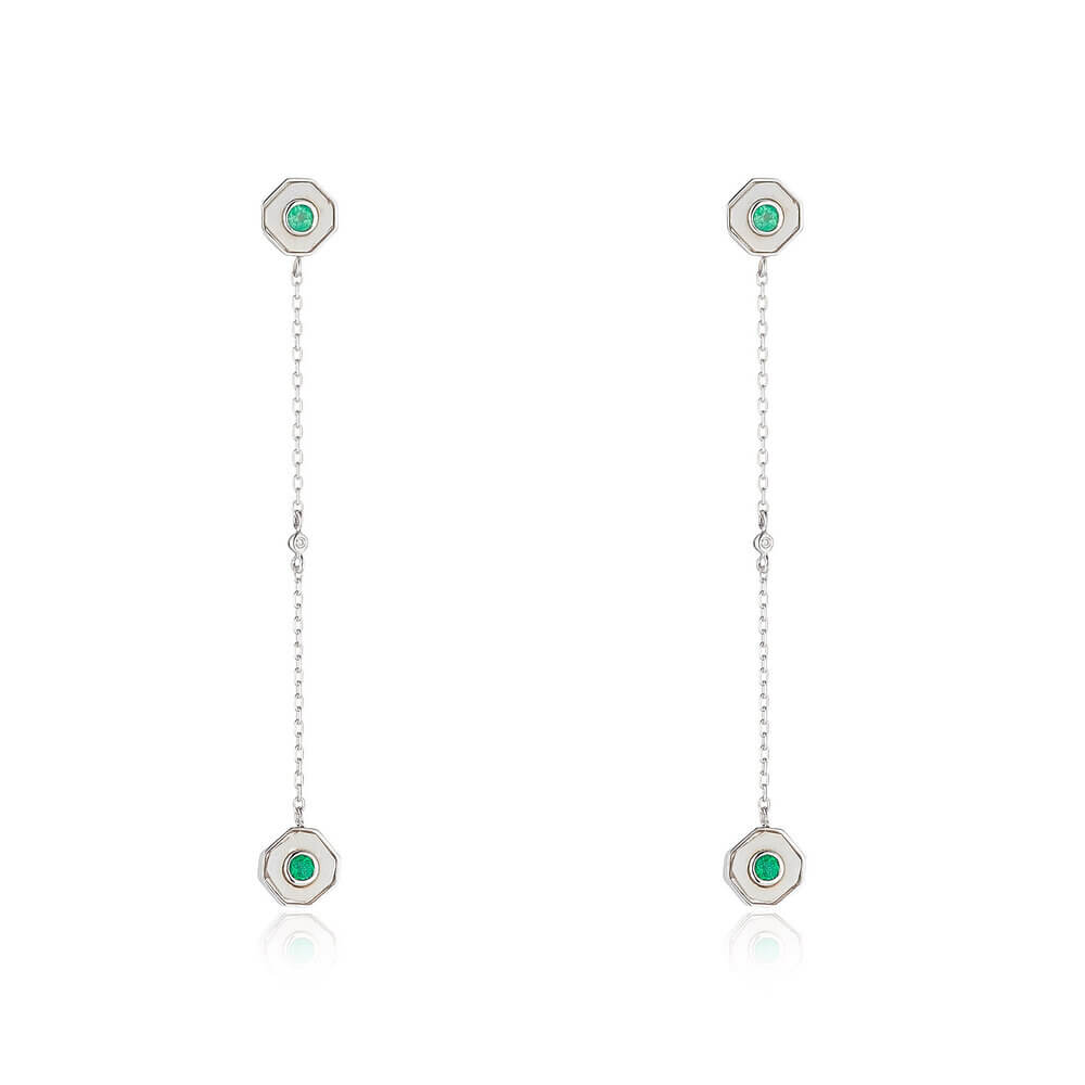 Emerald Drop Earrings With White Chalcedony And Diamond