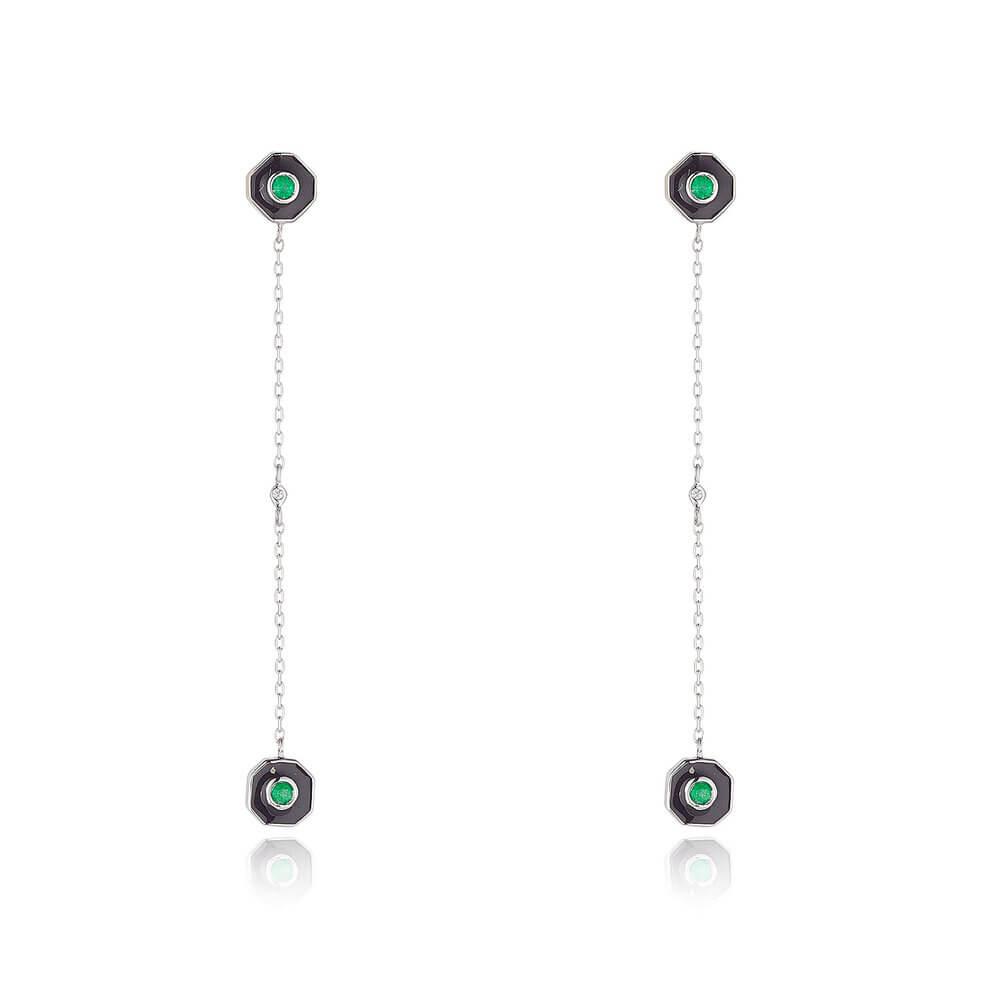 Emerald Drop Earrings With Diamond And Black Enamel