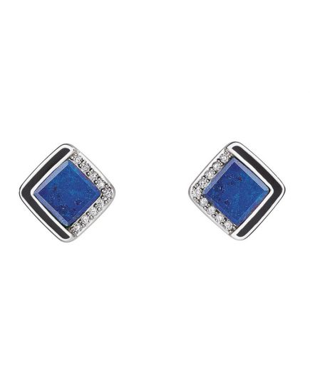 Diamond Lapis Lazuli Stud Earrings