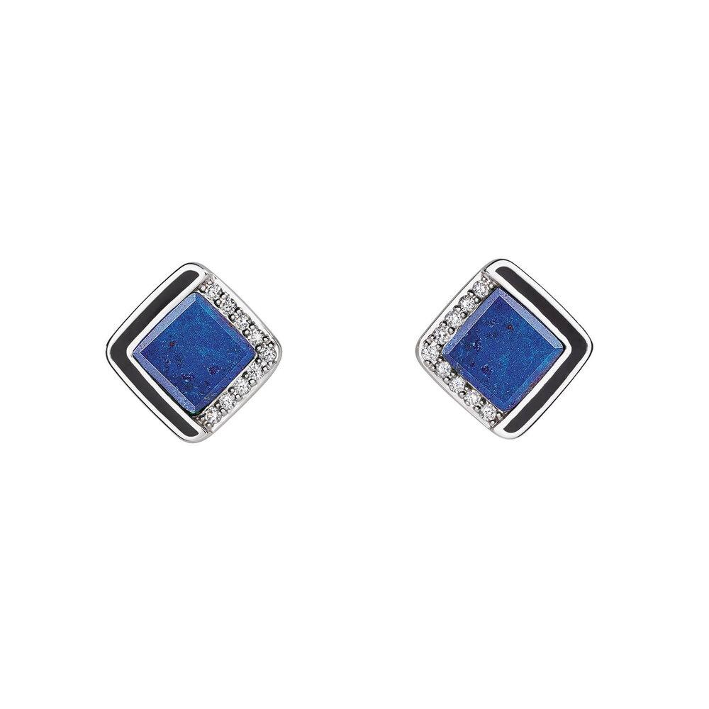 Diamond Lapis Lazuli Stud Earrings