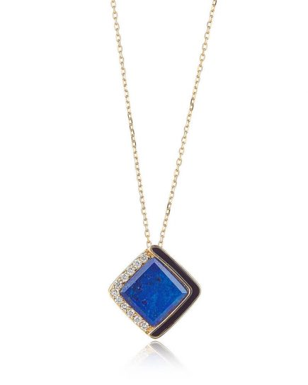 Lapis Luzuli necklace in yellow gold, diamond and black enamel