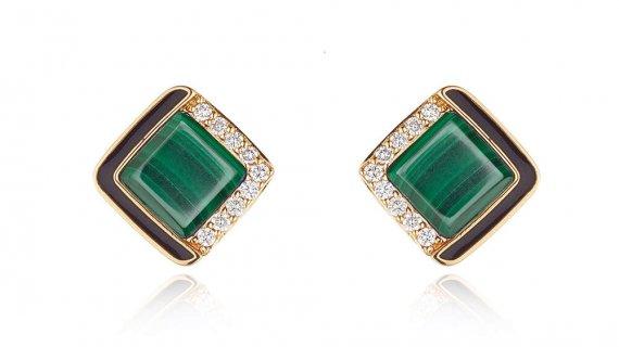 Malachite Diamond Stud Earrings
