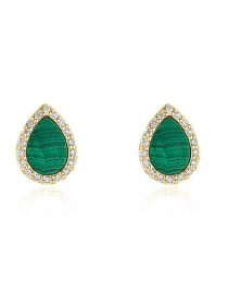 Malachite Diamond Stud Earrings
