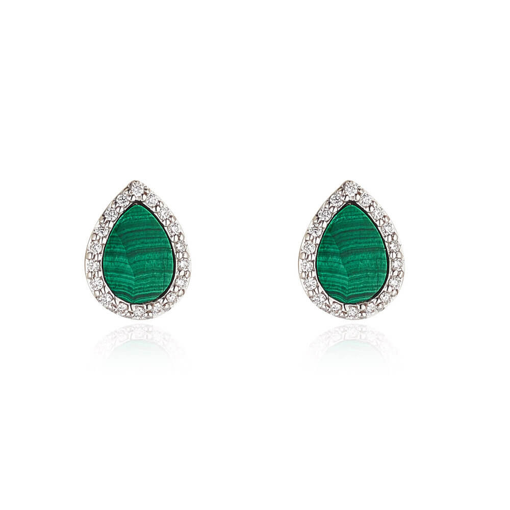Malachite Diamond Stud Earrings in Pear Shape