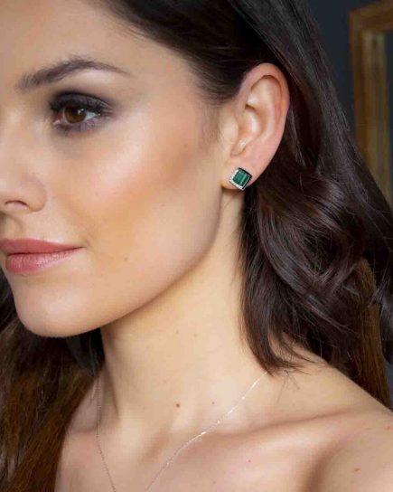 Diamond And Malachite Stud Earrings