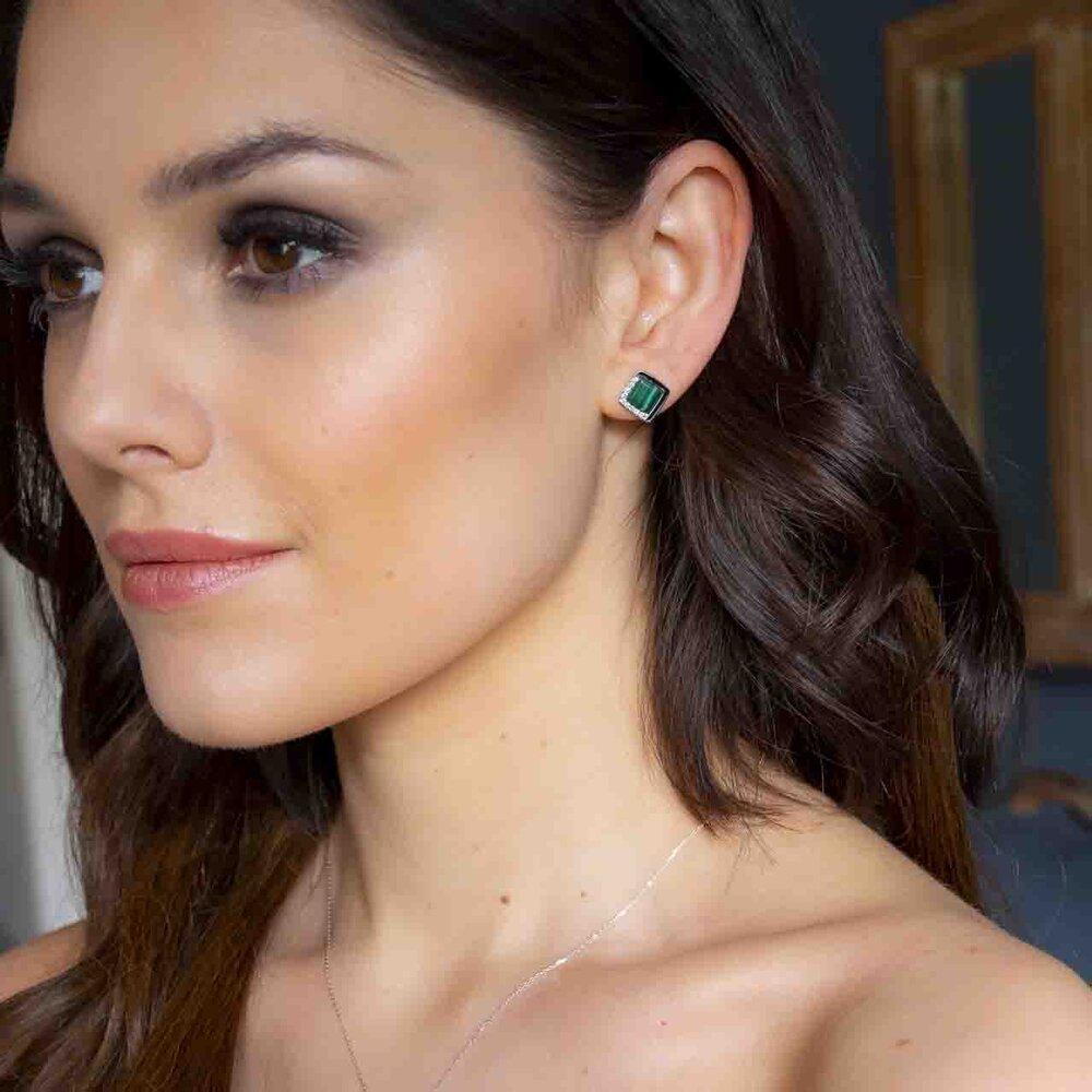Diamond And Malachite Stud Earrings