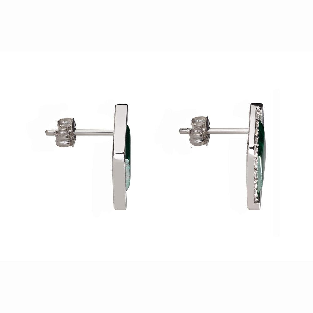 Art Deco Malachite Stud Earrings
