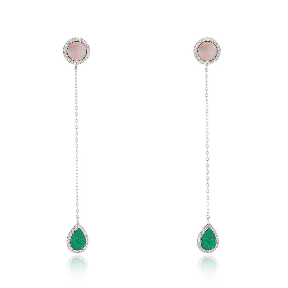 Malachite Drop Earrings With Black Mother of Pearl & Diamond