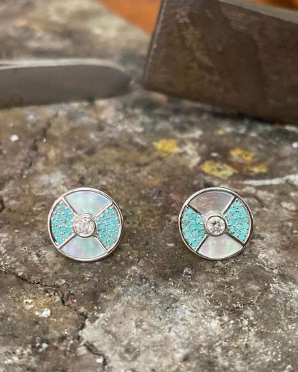 Diamond And Paraiba Earrings