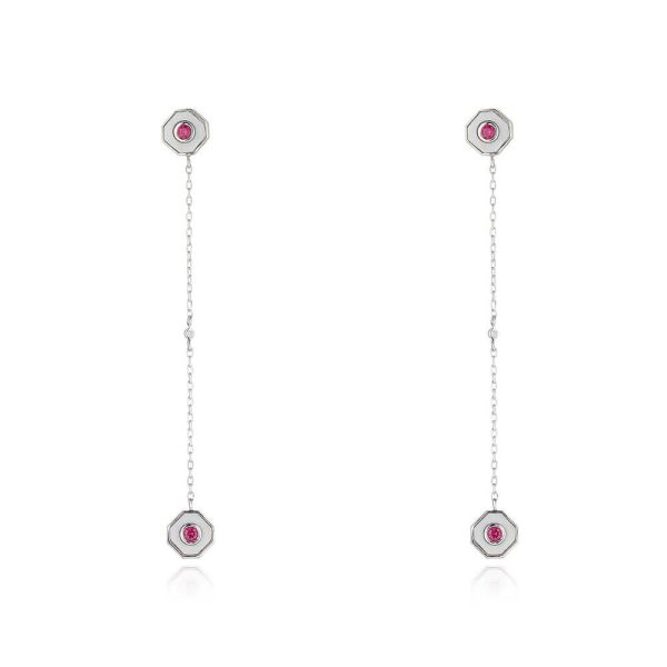Ruby Drop Earrings With White Chalcedony And Diamond