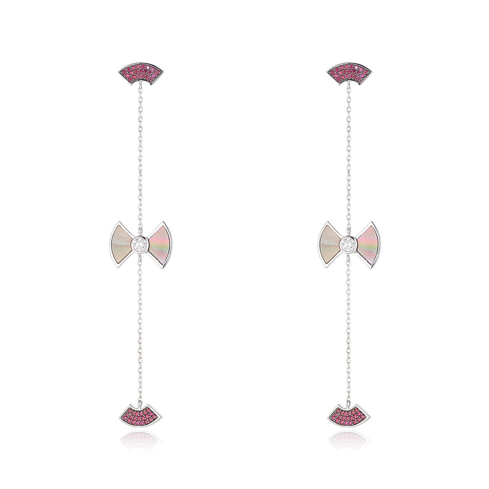 Ruby Earrings With Mother of Pearl & Diamond
