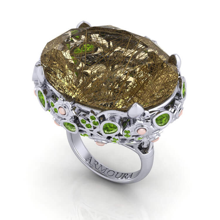 Quartz and Peridot Ring