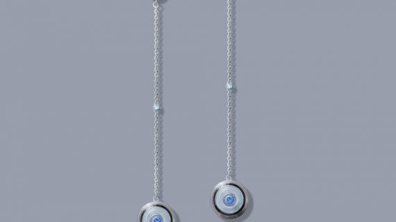 Diamond And Blue Sapphire Drop Earrings