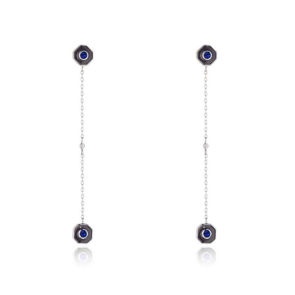 Sapphire Drop Earrings With Diamond