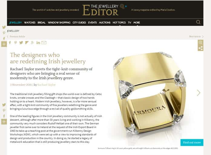 Irish Jewellery Designer, The Jewellery Editor