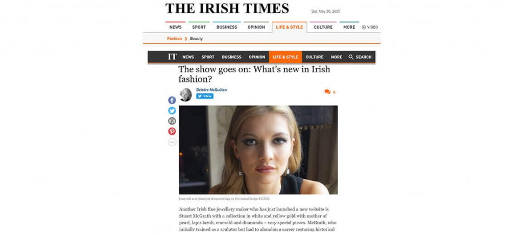 Irish Jewellery Designer, Irish Times Article