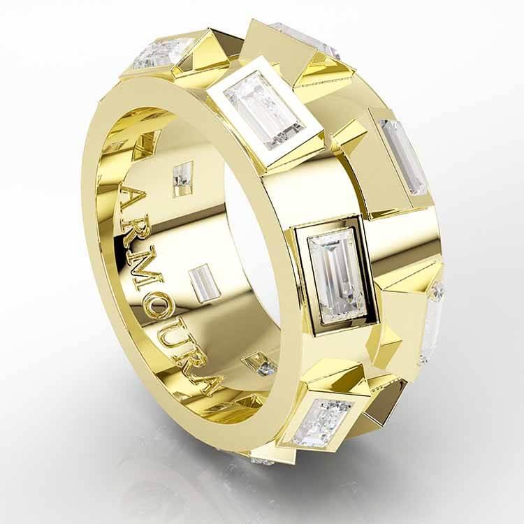 Bageutte Diamond ring 14K Yellow Gold