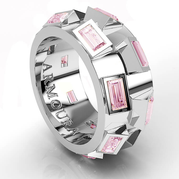 Baguette ring with pink sapphires white gold